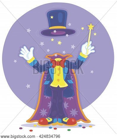 Artful Circus Magician Illusionist With His Magic Wand, Cloak And Hat, Conjuring Trick Of Mysterious