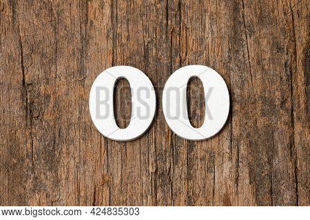 Digit Zero Zero - White Numbers On Rustic Wooden Background