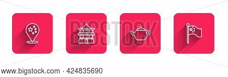 Set Line China Flag, Chinese House, Tea Ceremony And Flagpole With Long Shadow. Red Square Button. V