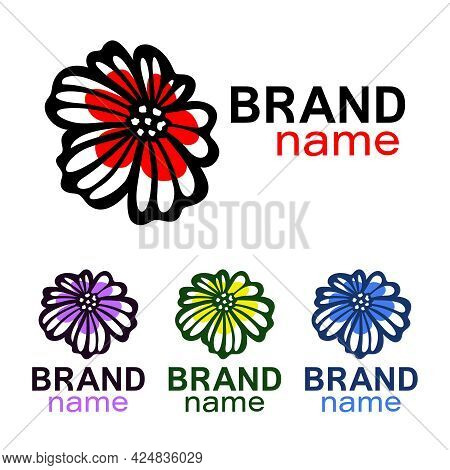 Beautiful Flower Logo. Blooming Bud Of Chamomile, Daisy Or Poppy. Black Lines, Red Petals. Sign, Ico