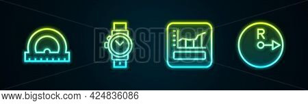 Set Line Protractor, Wrist Watch, Graph, Schedule, Chart, Diagram And Radius. Glowing Neon Icon. Vec