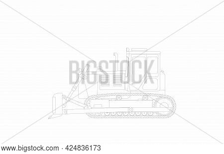 Vector Sketch Of A Goose Bulldozer On A White Background. Vector Flat Illustration