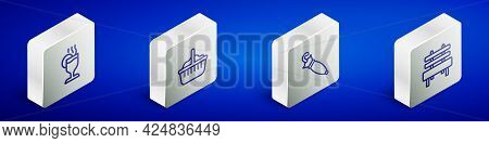 Set Isometric Line Mulled Wine, Basket, Umbrella And Bench Icon. Vector