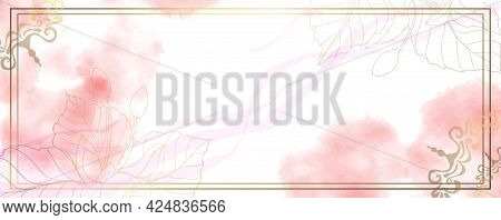 Luxurious Golden Wallpaper. Banner With Gold Frame. White Background And Spots Of Pink Watercolor. G