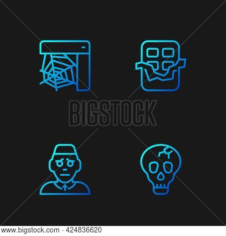 Set Line Skull, Priest, Spider Web And Chocolate Bar. Gradient Color Icons. Vector