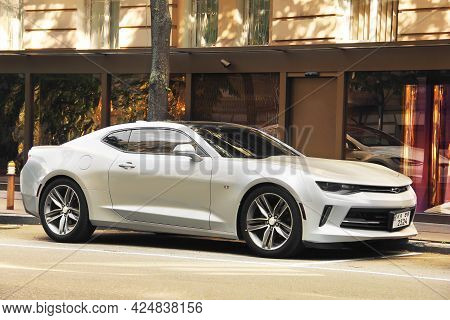 Kiev, Ukraine - May 22, 2021: Gray American Muscle Car Chevrolet Camaro Parked In The City