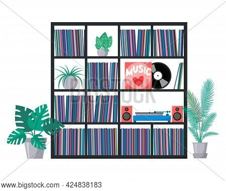 Vinyl Collection On Shelves With Turntable And Acoustic System. Stacks Of Music Records In Sleeves.