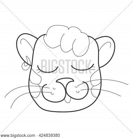 The Head Of A Fashionable Tiger Girl With An Earring And Bangs In The Style Of Doodles. Vector Illus