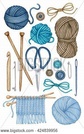 Watercolor Knitting, Crocheting Tools Set. Wooden Knitting Needles, Crochet Hook, Wool Yarn Skein, S