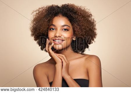 Beauty Portrait Of African American Girl With Afro Hair. Beautiful Black Woman. Cosmetics, Makeup An