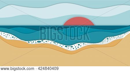 Seashore Abstract Papercut Poster. Beach Vector Illustration. Summer Holiday Background.
