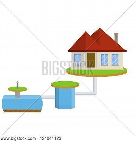 Scheme External Network Of Suburban Home Sewage Treatment System. House With Red Roof. Cartoon Flat