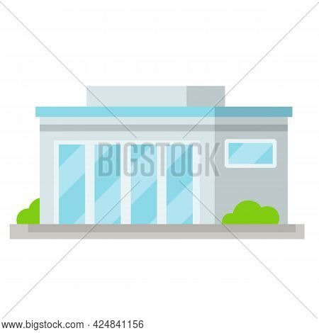 Office Building With Big Windows. Blue Facade Of House. Element Of Urban Landscape. Hospital And Sho