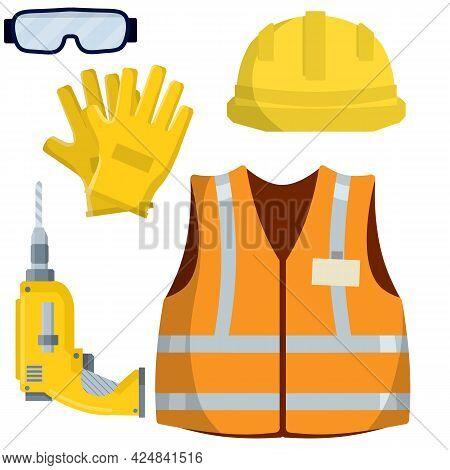 Clothing And Tools The Worker And The Builder. Orange Uniform, Gloves, Drill, Goggles And Helmet. In