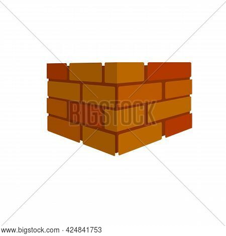 Brick Wall. Red Logo Of Construction Company. Element Of Building In Isometric View. Block And Stone