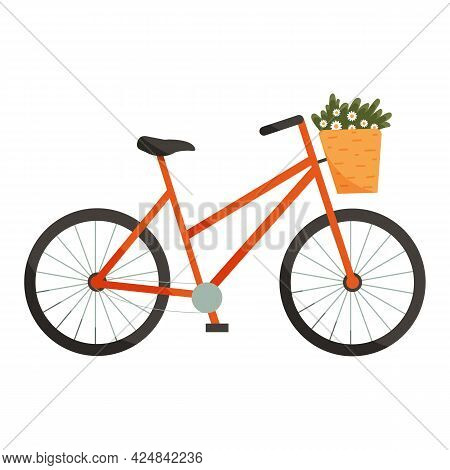 Vector Illustration Of Bicycle Or Bike With Basket Full Of Flowers In Cartoon Flat Style. Eco Friend