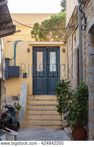 Stone Stairs Drives To House At Capital Of Syros Island, Hermoupolis, Cyclades, Greece. Vertical.