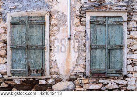 Aged Damaged Stone House At Ermoupolis Capital Of Syros Island, Cyclades, Greece.