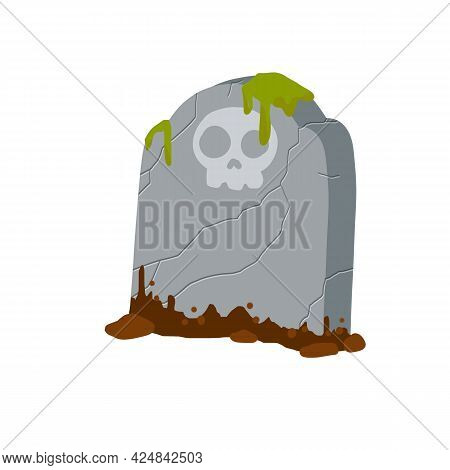 Stone Tombstone Stands On Ground With Grave. Celebration Of Halloween. Skull On Stone. Detail Cemete