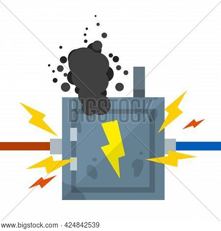 Damaged Switchboard. Cartoon Flat Illustration. Fuse And Electrical Engineering. Danger Situation -