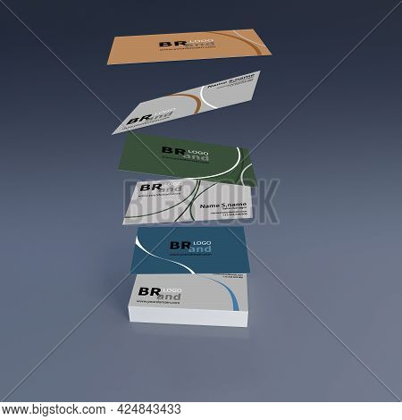 3D Rendering Of Many Layers Name Card