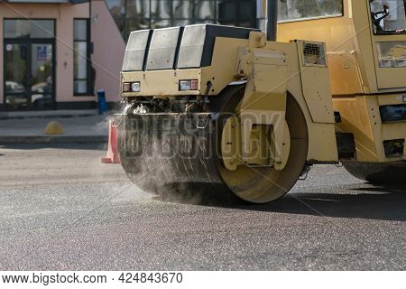 Road Repair Process, Roller Vehicle Fix The Highway In The Urban City Street