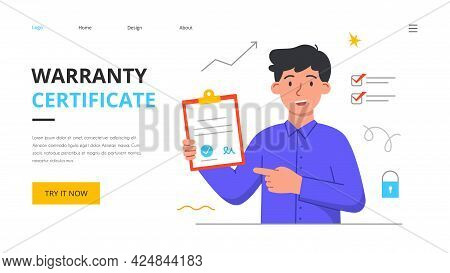 Warranty Certificate Concept. Product Safety And Quality Control. Defective Product Testing, Inspect