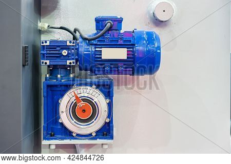 Close Up Reducer Gearbox And Electric Motor Install At Manufacturing Machine For Industrial