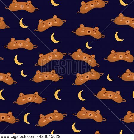 Seamless Pattern Sleep Mask With Cute Bear Face. Eye Protection Wear Accessory. Relaxation Blindfold