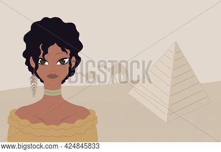 Egyptian Woman In Desert. Egyptian Pyramid. Camel.