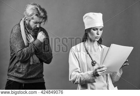 Improving Your Health. Nurse Write Out Sick Leave. Virus Screening. Coronavirus Epidemic From China.