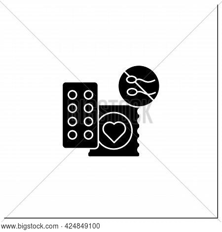 Drug Glyph Icon. Contraception. Pills And Condoms.unwanted Pregnancy. Health Care. Woman Health Conc