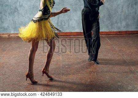 Young Couple Dancers Dancing Ballroom Dance Cha-cha-cha Close Up Legs