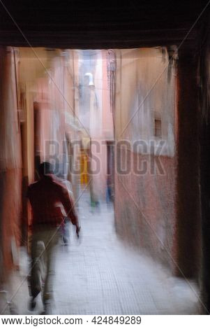 Art Photo Of Moroccan Street Photography With One Person