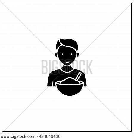Mindful Eating Glyph Icon. Conscious, Intuitive Nutrition. Small Portions. Enjoy Your Meal. Mealtime