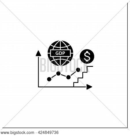 Gdp Growth Glyph Icon. Gross Domestic Product.increase In Production And Services In Economy. Upswin