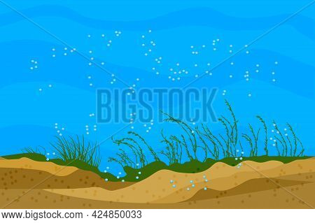 Ocean Bottom Landscape. Underwater Background With Grass Silhouettes And Shiny Air Bubbles. Undersea
