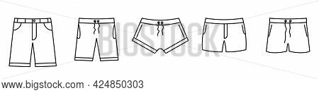 Swimming Trunks Icon. Set Of Linear Shorts Icon. Vector Illustration. Swimming Trunks Vector Icons.