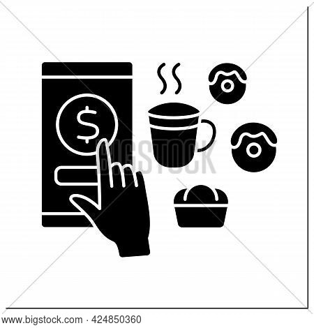 Donations Glyph Icon. Digital Money For Services In Cafes. Tips For Delicious Food And Drinks. Virtu