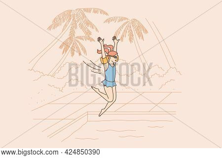 Summer Vacations And Travel Concept. Young Smiling Girl Cartoon Character Jumping Into Water Of Swim