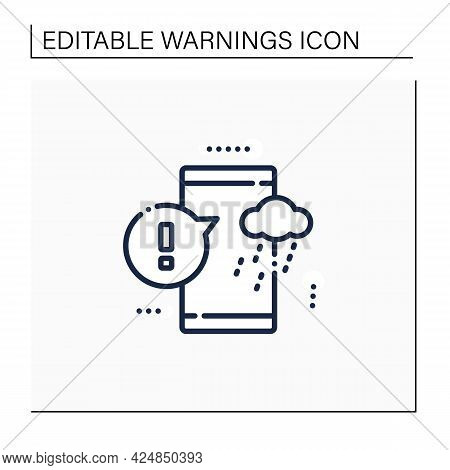 Notification Sign Line Icon. Strong Change In Weather Condition. Weather Application. Exclamation Po