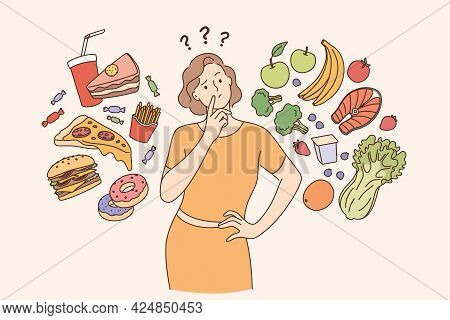 Dieting, Healthy Lifestyle, Weight Loss Concept. Woman Cartoon Character Standing Choosing Between H
