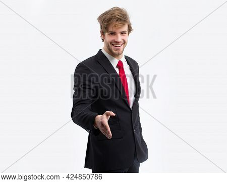 Business Shaking Hands. Businessman In Suit. Positive Human, Young Business Man With Red Tie In A Su
