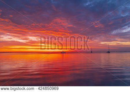 Seascape Golden Sunrise Over The Sea. Nature Landscape, Adriatic. Beautiful Orange And Yellow Color