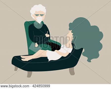 Psychotherapist Providing Psychotherapeutic Assistance To A Woman.