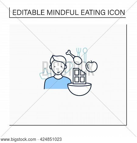 Mindful Eating Line Icon. Mixing, Matching Different Foods. New Tastes. Intuitive Eating. Conscious