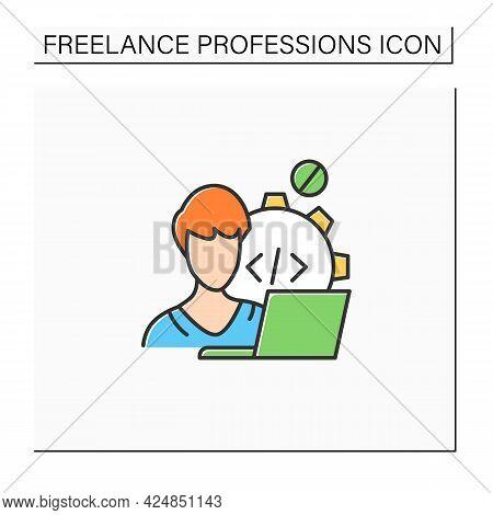 Web Developer Color Icon. Programmer. Development Web Application. Workplace. Freelance Professions