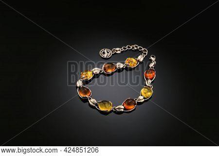 Variously Sized Bracelet Made Of Natural Polished Transparent Honey Luxury Amber