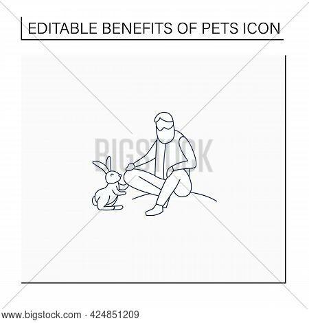 Pets Benefits Line Icon.man Pet Rabbit. Reduce Stress Level. Companionship. Animal Caring Concept. I