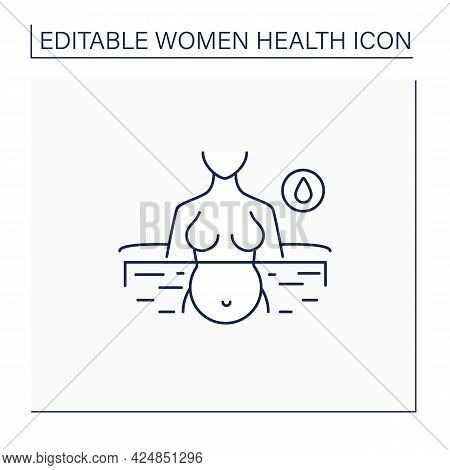 Water Birth Line Icon. Birthing In Special Bath Or Pool. Less Painful Childbirth. Woman Health Conce